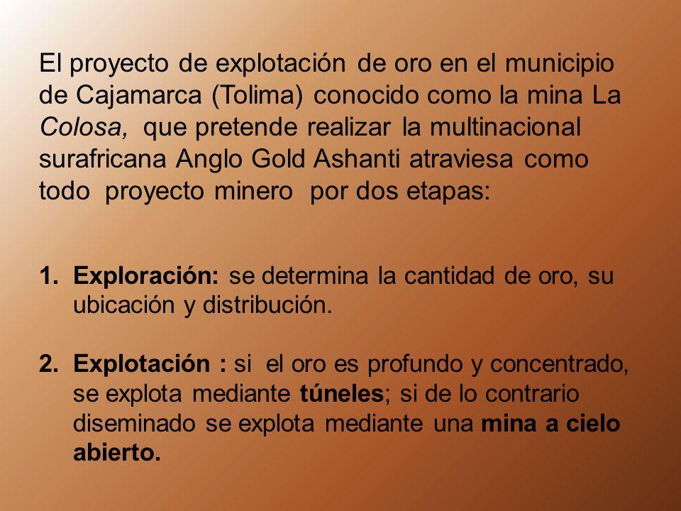 El proyecto de explotación de oro en el municipio de Cajamarca (Tolima) conocido como la mina La Colosa, que pretende realizar la multinacional surafricana Anglo Gold Ashanti atraviesa como todo proyecto minero por dos etapas: 1.Exploración: se determina la cantidad de oro, su ubicación y distribución.