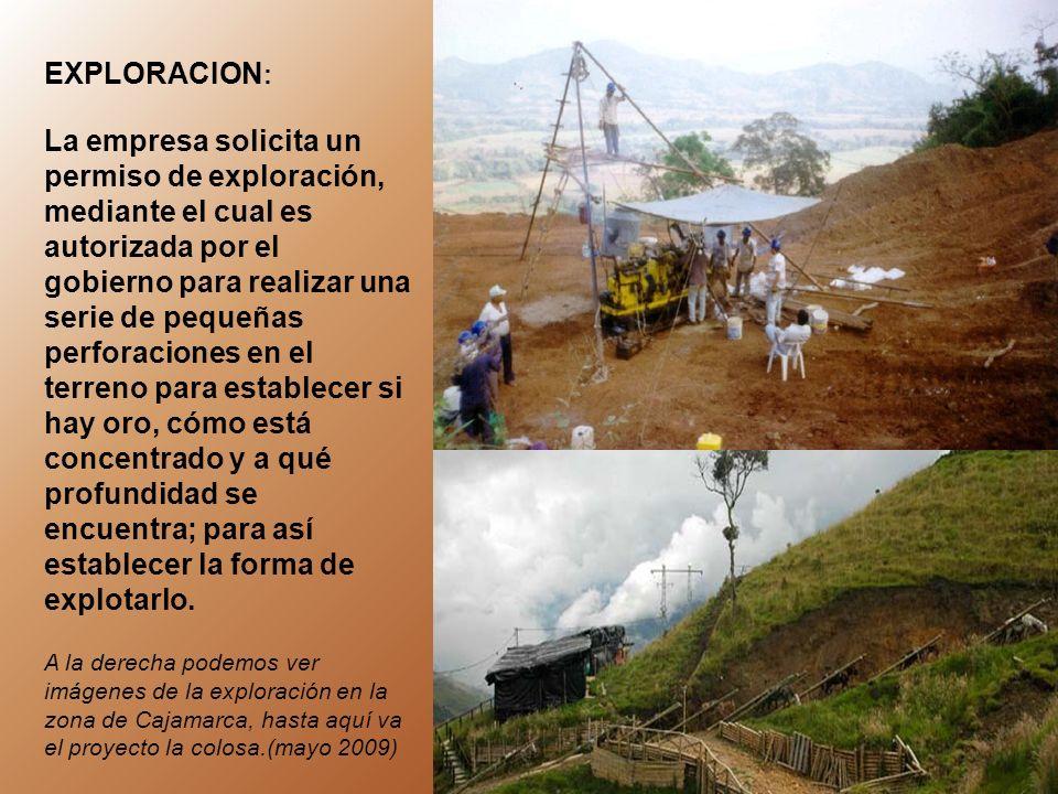 las pruebas realizadas por la multinacional Anglo Gold Ashanti en Cajamarca sugieren que el oro esta superficialmente disperso por una área de cerca de 515 hectáreas de la zona de reserva natural y por ende se necesita explotarla por el método de minería a cielo abierto ¿ y cómo se explota una mina a cielo abierto?