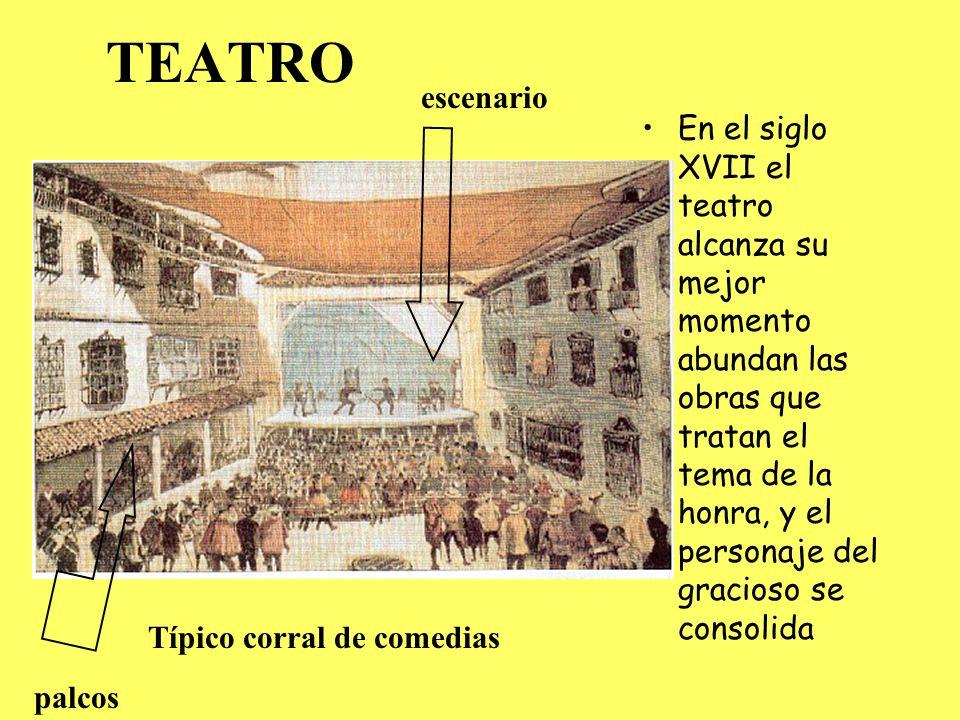 AUTORES TEATRALES Lope de Vega 1562- 1635 precursor del movimiento de la Ilustración El teatro de Lope de Vega trata sobre temas de diversa naturaleza, como los religiosos o los de origen grecolatino, pero las obras con que mayor éxito obtuvo fueron aquellas cuyo argumento refleja las costumbres y los ambientes de la época y plantean conflictos amorosos Calderón de la Barca (1600- 1681) Completó el camino que Lope de Vega había iniciado en el teatro.