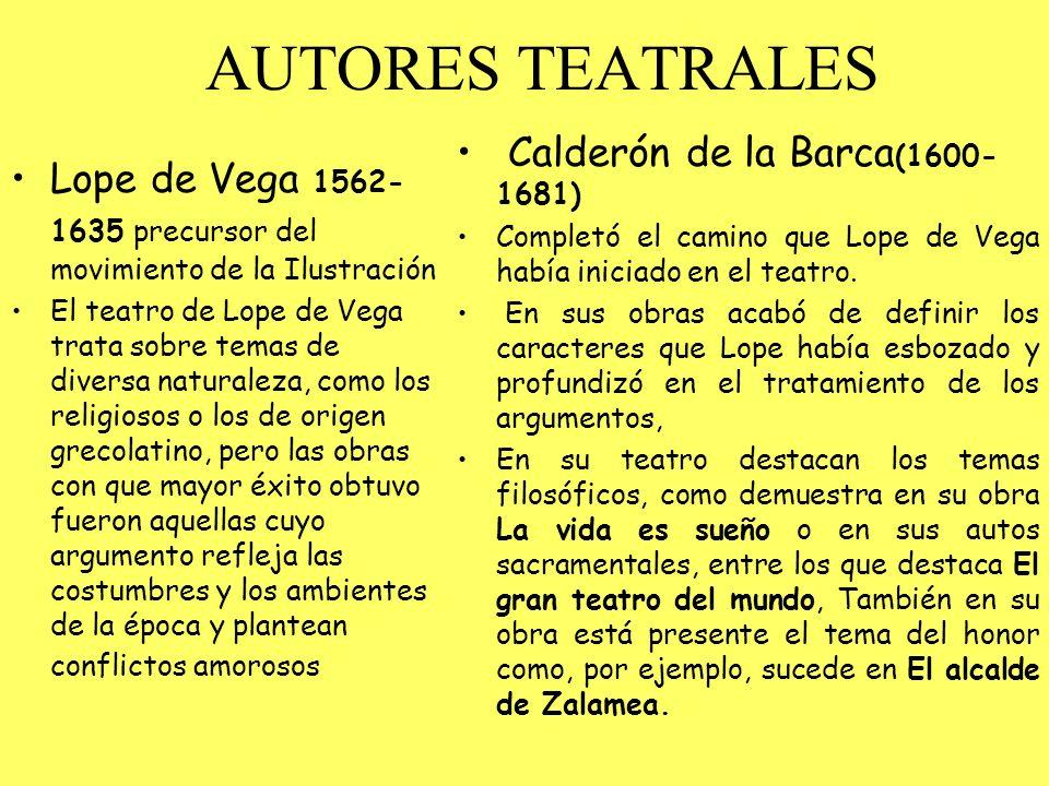 AUTORES TEATRALES Lope de Vega 1562- 1635 precursor del movimiento de la Ilustración El teatro de Lope de Vega trata sobre temas de diversa naturaleza
