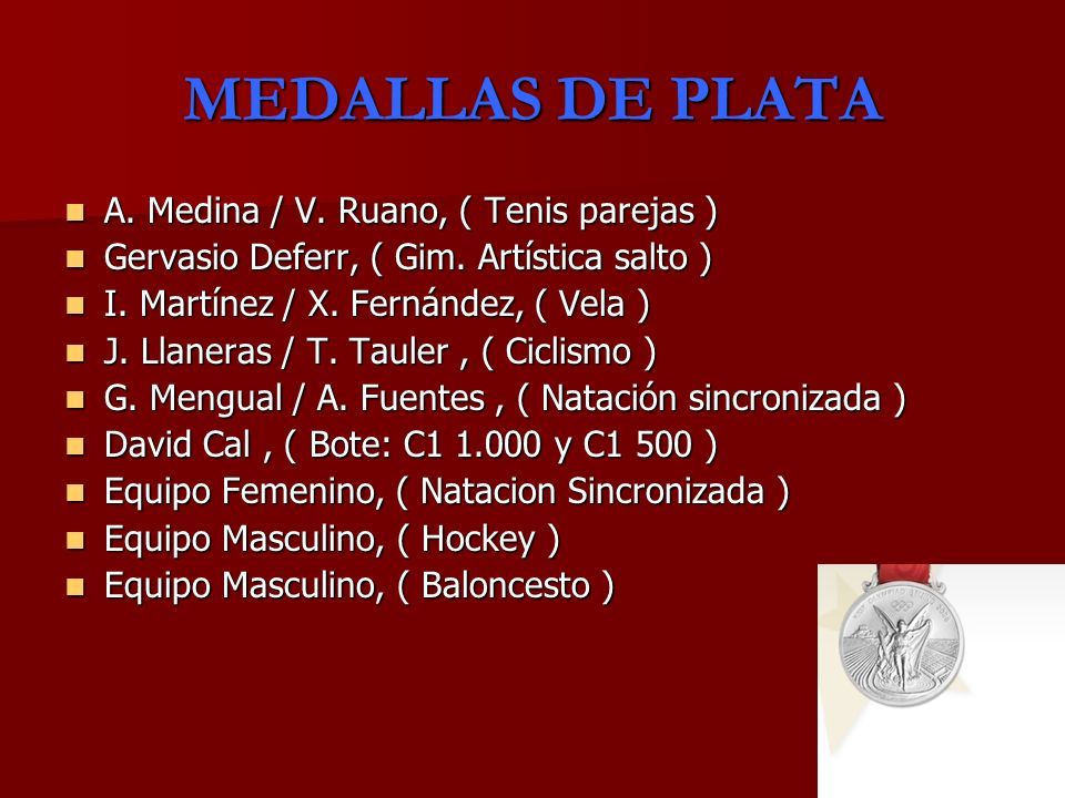 MEDALLAS DE PLATA A. Medina / V. Ruano, ( Tenis parejas ) A. Medina / V. Ruano, ( Tenis parejas ) Gervasio Deferr, ( Gim. Artística salto ) Gervasio D