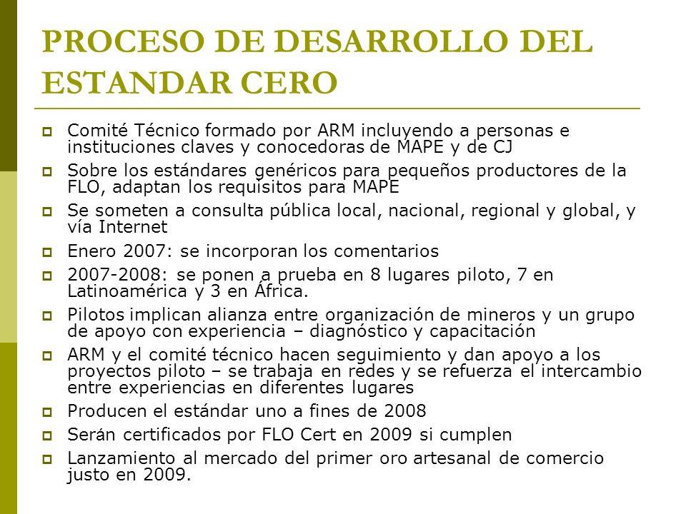PROCESO DE DESARROLLO DEL ESTANDAR CERO Comité Técnico formado por ARM incluyendo a personas e instituciones claves y conocedoras de MAPE y de CJ Sobr