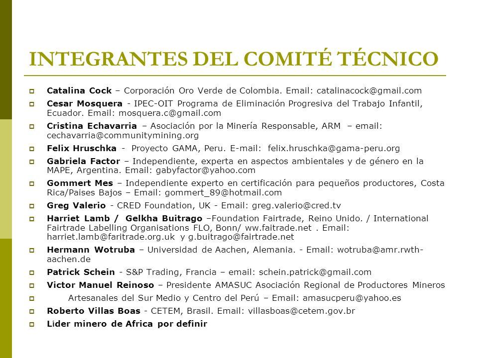 INTEGRANTES DEL COMITÉ TÉCNICO Catalina Cock – Corporación Oro Verde de Colombia. Email: catalinacock@gmail.com Cesar Mosquera - IPEC-OIT Programa de