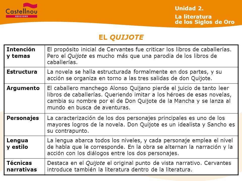 EL QUIJOTE Intención y temas El propósito inicial de Cervantes fue criticar los libros de caballerías.