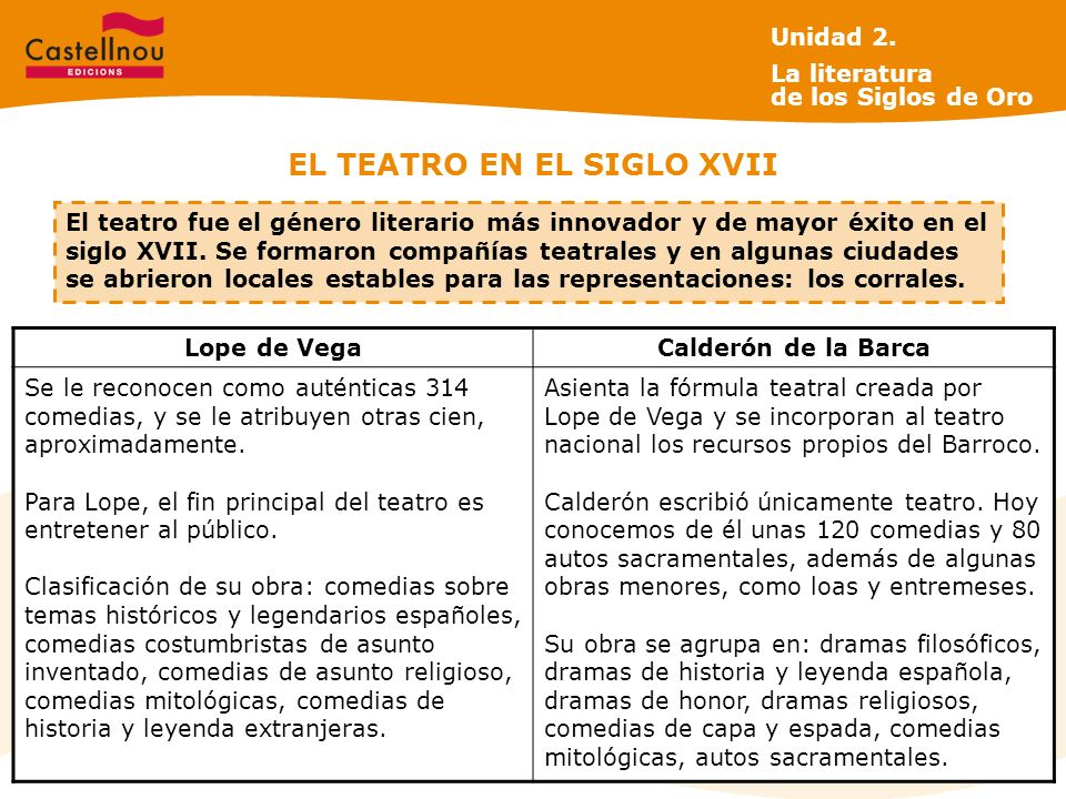 EL TEATRO EN EL SIGLO XVII Lope de VegaCalderón de la Barca Se le reconocen como auténticas 314 comedias, y se le atribuyen otras cien, aproximadamente.