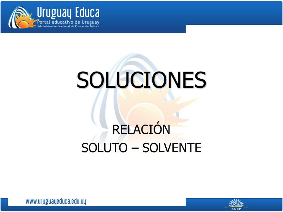 SOLUCIONES RELACIÓN SOLUTO – SOLVENTE