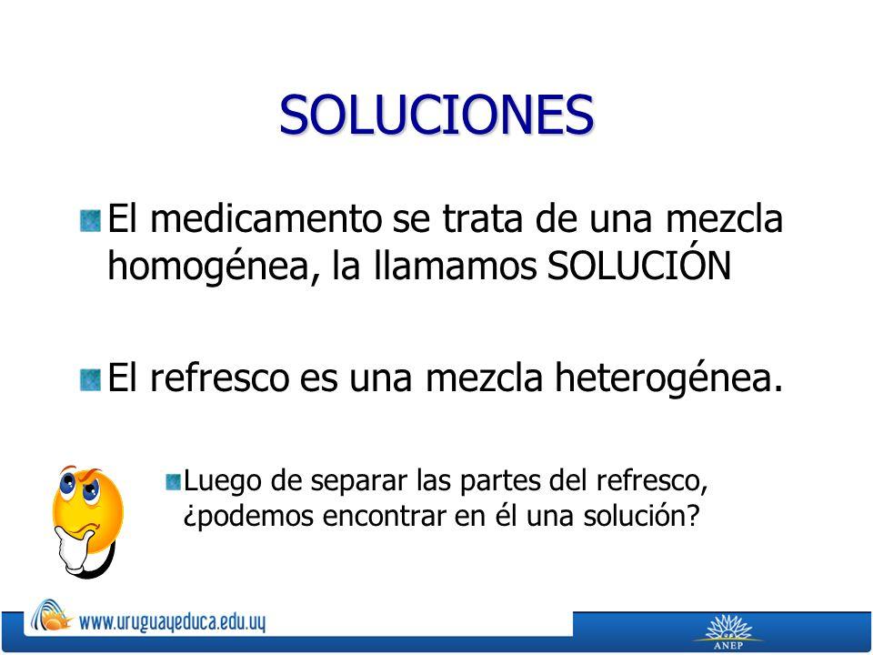 SOLUCIONES El medicamento se trata de una mezcla homogénea, la llamamos SOLUCIÓN El refresco es una mezcla heterogénea.