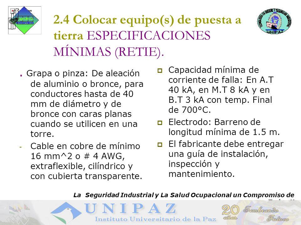 11 2.4 Colocar equipo(s) de puesta a tierra ESPECIFICACIONES MÍNIMAS (RETIE)..