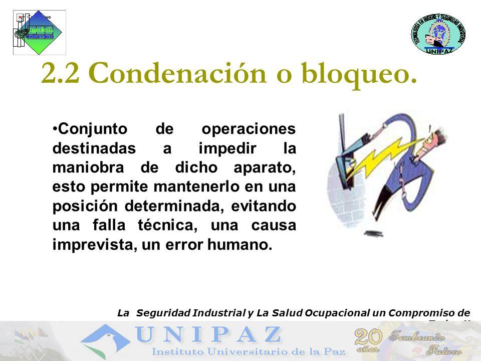 8 2.2 Condenación o bloqueo (Cont.) Bloqueo en subestaciones: Utilizar candados y tarjetas.