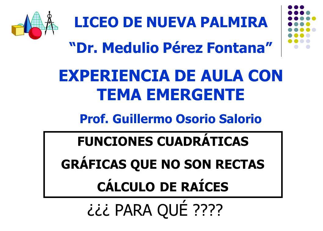 LICEO DE NUEVA PALMIRA Dr. Medulio Pérez Fontana EXPERIENCIA DE AULA CON TEMA EMERGENTE Prof. Guillermo Osorio Salorio FUNCIONES CUADRÁTICAS GRÁFICAS
