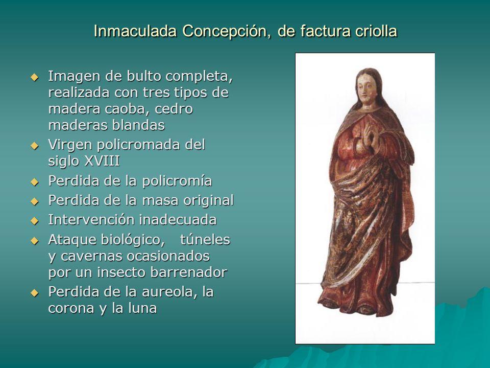 Inmaculada Concepción, de factura criolla Imagen de bulto completa, realizada con tres tipos de madera caoba, cedro maderas blandas Imagen de bulto co