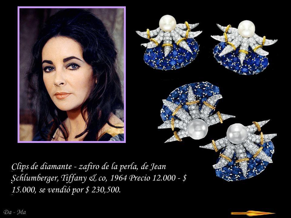 Da - Ma Diamond - pendientes de zafiro en el estilo Art Nouveau de Van Cleef & Arpels comprado por ET en los años 80 del siglo XX, un precio 150 000 - 200 000, se vendió por $ 338,500