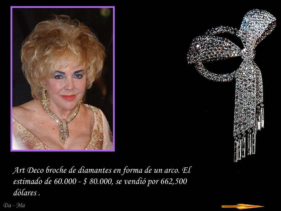 Da - Ma Collar y pendientes de la época de la Belle Epoque de su marido, Mike Todd recibió en 1957 Collar estimado 25.000 - $ 35.000, se vendió por 386.500 dólares, pendientes - estimar 25.000 - $ 35.000 se vendieron por 374.500 dólares.