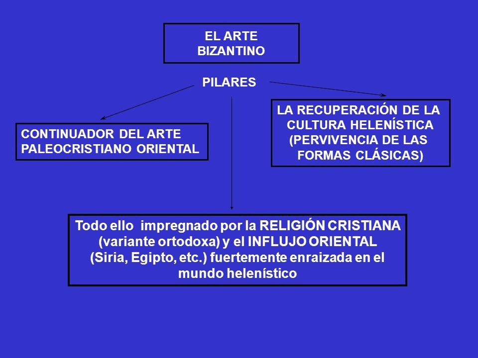 CONTINUADOR DEL ARTE PALEOCRISTIANO ORIENTAL LA RECUPERACIÓN DE LA CULTURA HELENÍSTICA (PERVIVENCIA DE LAS FORMAS CLÁSICAS) PILARES Todo ello impregna