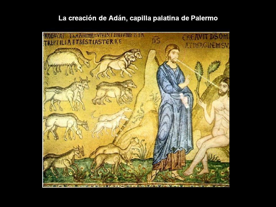 La creación de Adán, capilla palatina de Palermo