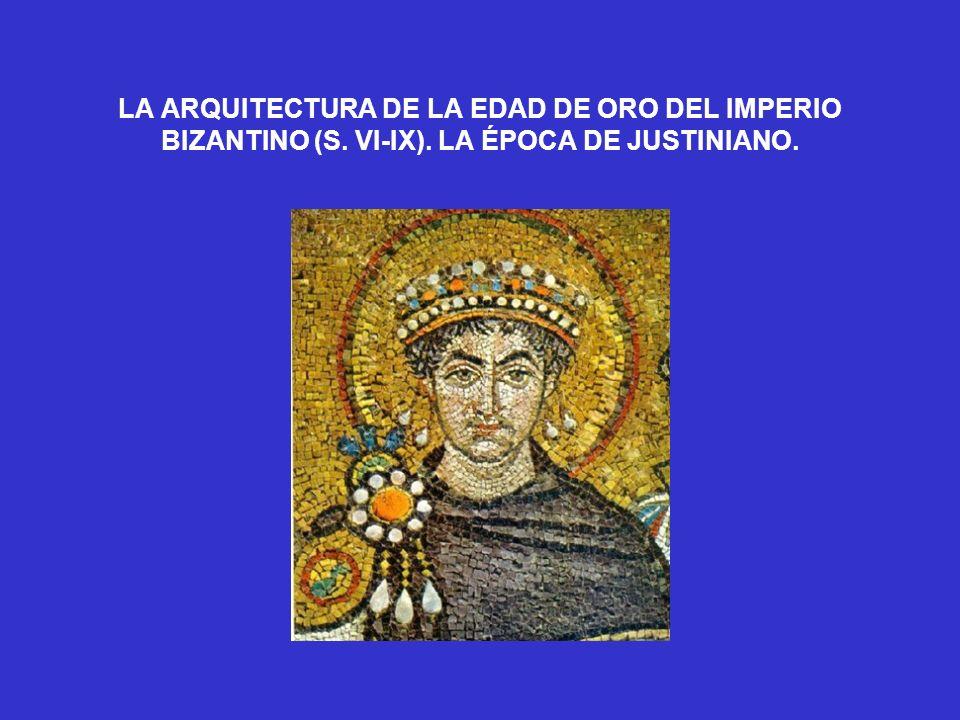 La Virgen flanqueada por los emperadores Justiniano (que ofrenda la iglesia a la Virgen) y Constantino (que le presenta la ciudad de Constantinopla