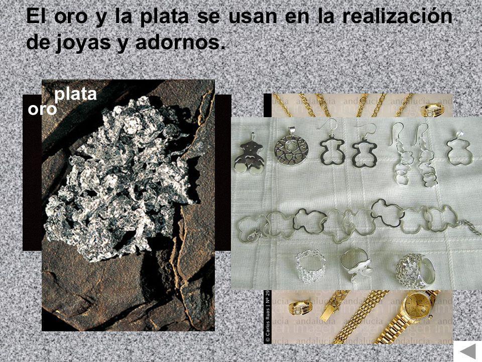 El oro y la plata se usan en la realización de joyas y adornos. oro plata