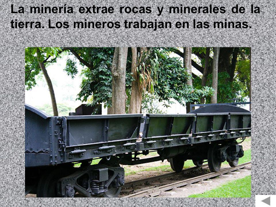 La minería extrae rocas y minerales de la tierra. Los mineros trabajan en las minas.