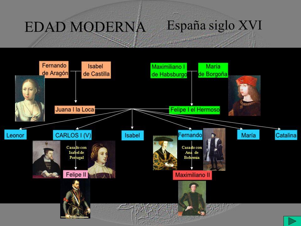 EDAD MODERNA España siglo XVI Casado con Isabel de Portugal Casado con Ana de Bohemia
