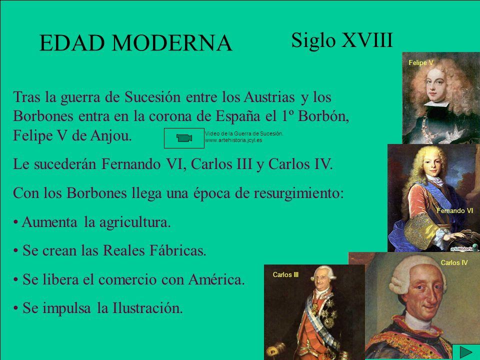 EDAD MODERNA Siglo XVIII Tras la guerra de Sucesión entre los Austrias y los Borbones entra en la corona de España el 1º Borbón, Felipe V de Anjou.