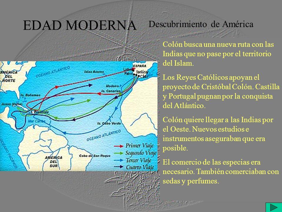 EDAD MODERNA Descubrimiento de América Colón busca una nueva ruta con las Indias que no pase por el territorio del Islam.
