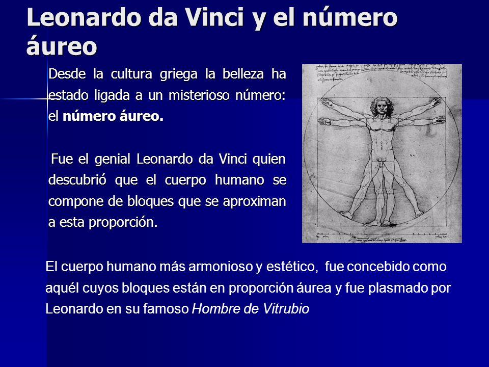 Leonardo da Vinci y el número áureo Desde la cultura griega la belleza ha estado ligada a un misterioso número: el número áureo. Desde la cultura grie