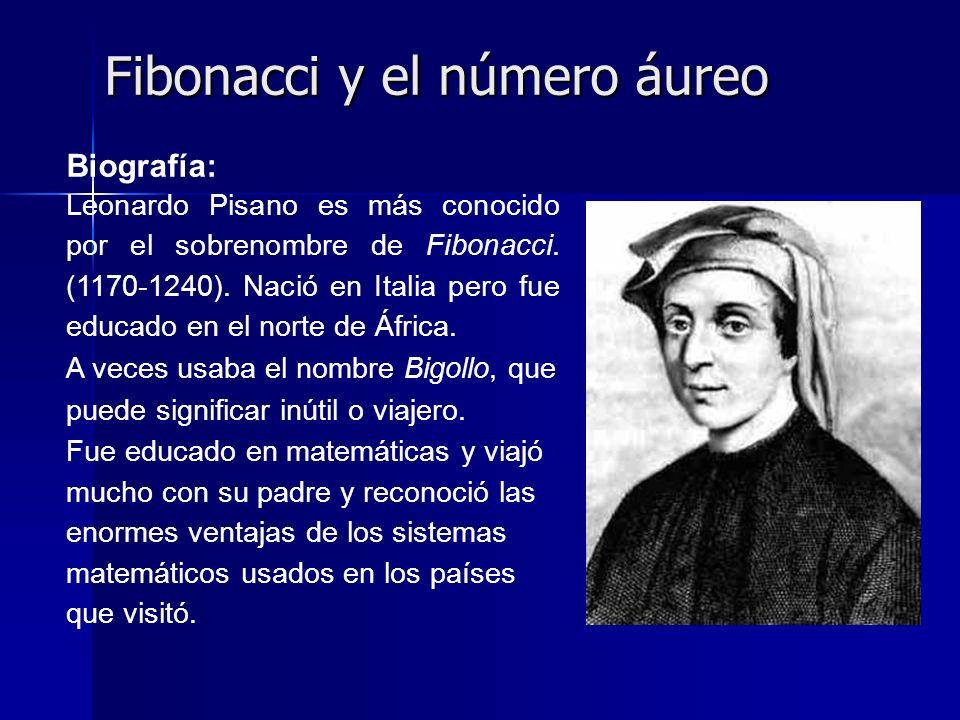 Fibonacci y el número áureo Biografía: Leonardo Pisano es más conocido por el sobrenombre de Fibonacci. (1170-1240). Nació en Italia pero fue educado