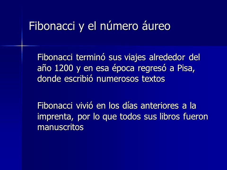 Fibonacci terminó sus viajes alrededor del año 1200 y en esa época regresó a Pisa, donde escribió numerosos textos Fibonacci vivió en los días anterio