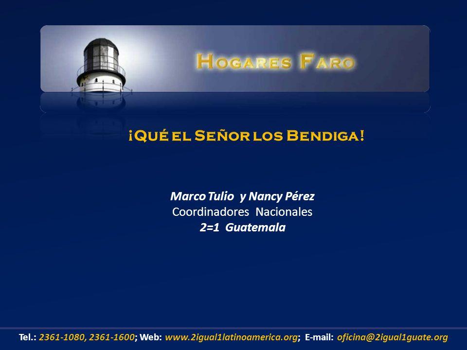 Marco Tulio y Nancy Pérez Coordinadores Nacionales 2=1 Guatemala ¡Qué el Señor los Bendiga! Tel.: 2361-1080, 2361-1600; Web: www.2igual1latinoamerica.