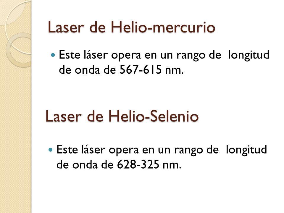 Laser de Helio-mercurio Este láser opera en un rango de longitud de onda de 567-615 nm. Laser de Helio-Selenio Este láser opera en un rango de longitu
