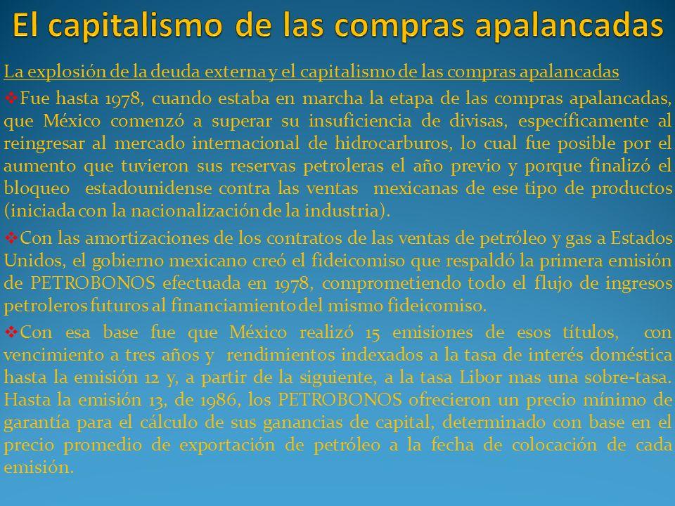 La explosión de la deuda externa y el capitalismo de las compras apalancadas Fue hasta 1978, cuando estaba en marcha la etapa de las compras apalancad