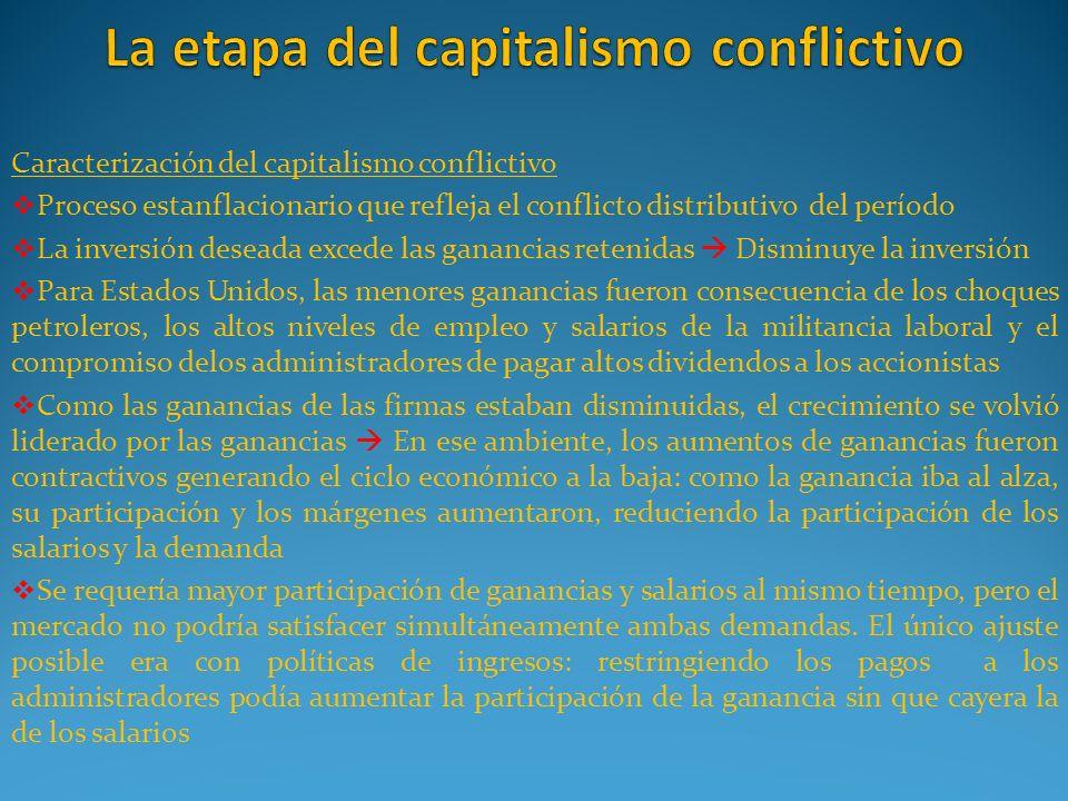 Caracterización del capitalismo conflictivo Proceso estanflacionario que refleja el conflicto distributivo del período La inversión deseada excede las