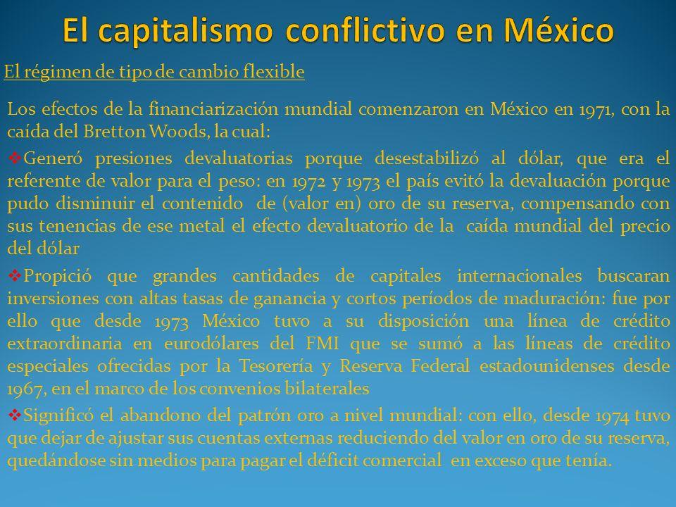 El régimen de tipo de cambio flexible Los efectos de la financiarización mundial comenzaron en México en 1971, con la caída del Bretton Woods, la cual