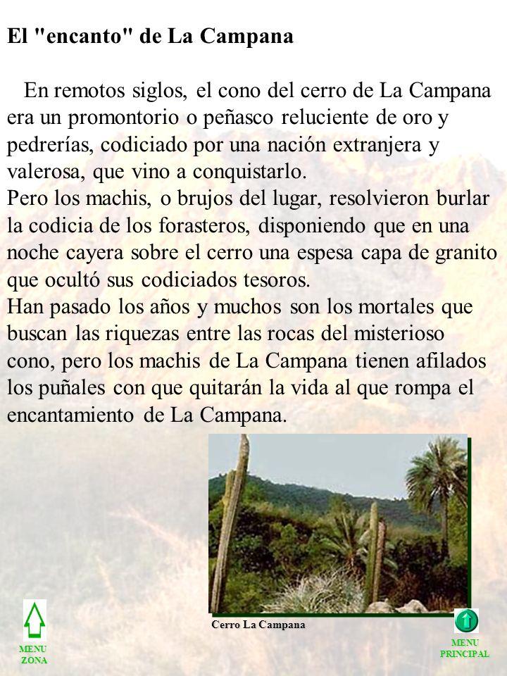 El encanto de La Campana En remotos siglos, el cono del cerro de La Campana era un promontorio o peñasco reluciente de oro y pedrerías, codiciado por una nación extranjera y valerosa, que vino a conquistarlo.