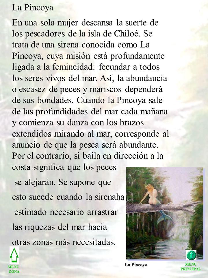 La Pincoya En una sola mujer descansa la suerte de los pescadores de la isla de Chiloé. Se trata de una sirena conocida como La Pincoya, cuya misión e