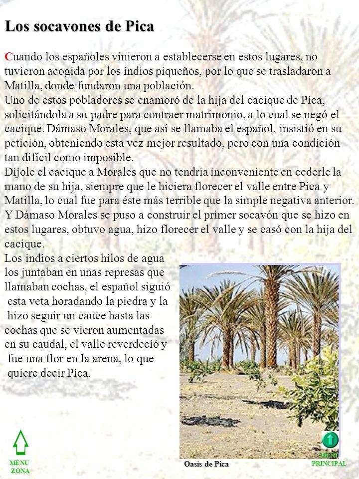 Los socavones de Pica Cuando los españoles vinieron a establecerse en estos lugares, no tuvieron acogida por los indios piqueños, por lo que se trasladaron a Matilla, donde fundaron una población.