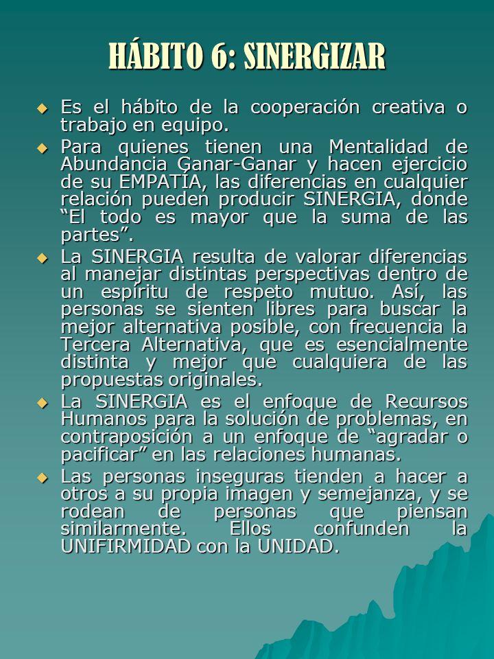 HÁBITO 6: SINERGIZAR Es el hábito de la cooperación creativa o trabajo en equipo. Es el hábito de la cooperación creativa o trabajo en equipo. Para qu