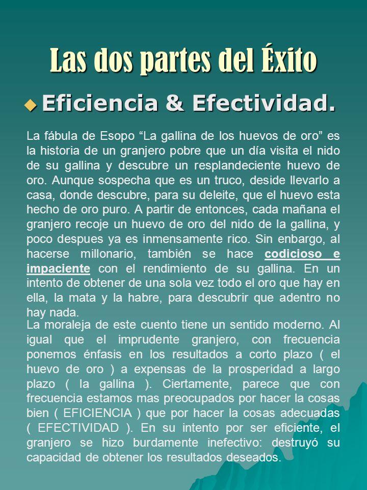 Las dos partes del Éxito Eficiencia & Efectividad. Eficiencia & Efectividad. La fábula de Esopo La gallina de los huevos de oro es la historia de un g