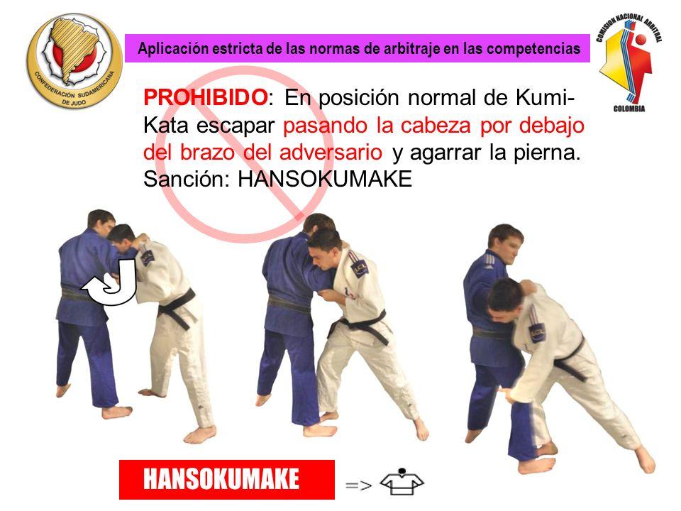 EXCEPCIÓN: El agarre de pierna está autorizado cuando el adversario esta en posición de agarre cruzado.