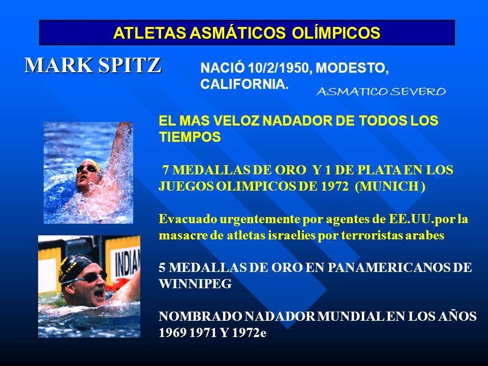 ATLETAS ASMÁTICOS OLÍMPICOS MARK SPITZ EL MAS VELOZ NADADOR DE TODOS LOS TIEMPOS 7 MEDALLAS DE ORO Y 1 DE PLATA EN LOS JUEGOS OLIMPICOS DE 1972 (MUNIC