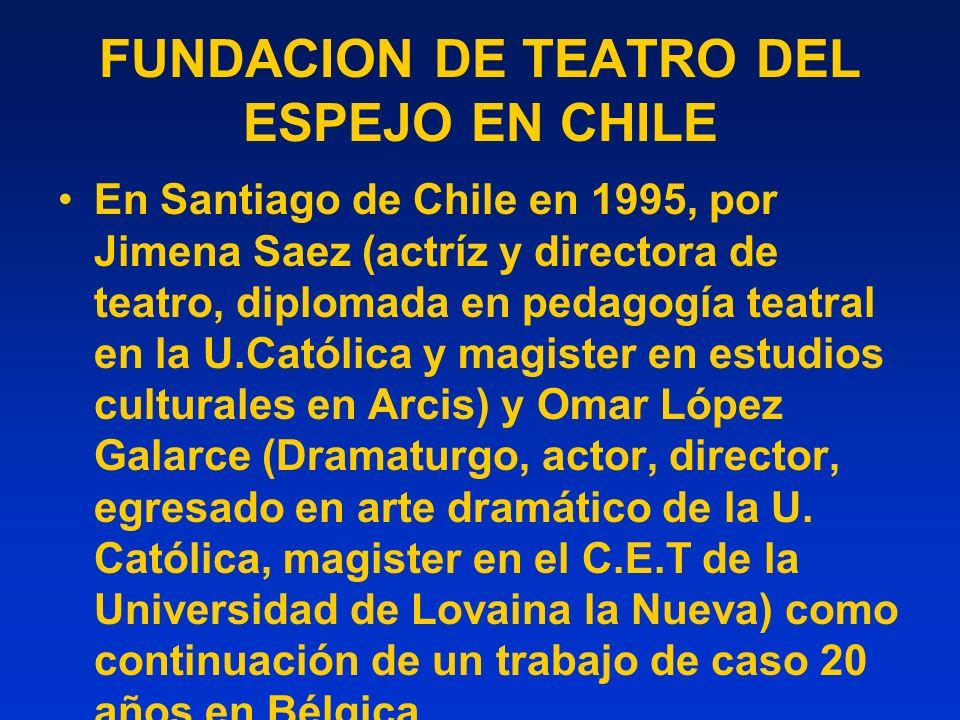 FUNDACION DE TEATRO DEL ESPEJO EN CHILE En Santiago de Chile en 1995, por Jimena Saez (actríz y directora de teatro, diplomada en pedagogía teatral en