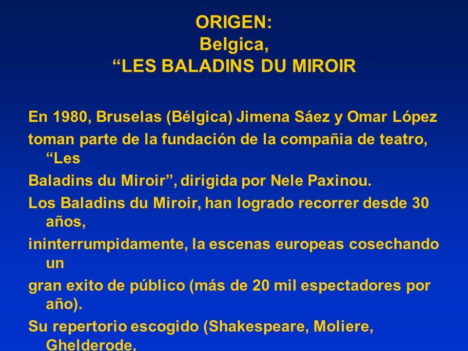 ORIGEN: Belgica, LES BALADINS DU MIROIR En 1980, Bruselas (Bélgica) Jimena Sáez y Omar López toman parte de la fundación de la compañia de teatro, Les Baladins du Miroir, dirigida por Nele Paxinou.