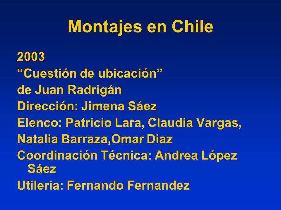 Montajes en Chile 2003 Cuestión de ubicación de Juan Radrigán Dirección: Jimena Sáez Elenco: Patricio Lara, Claudia Vargas, Natalia Barraza,Omar Diaz