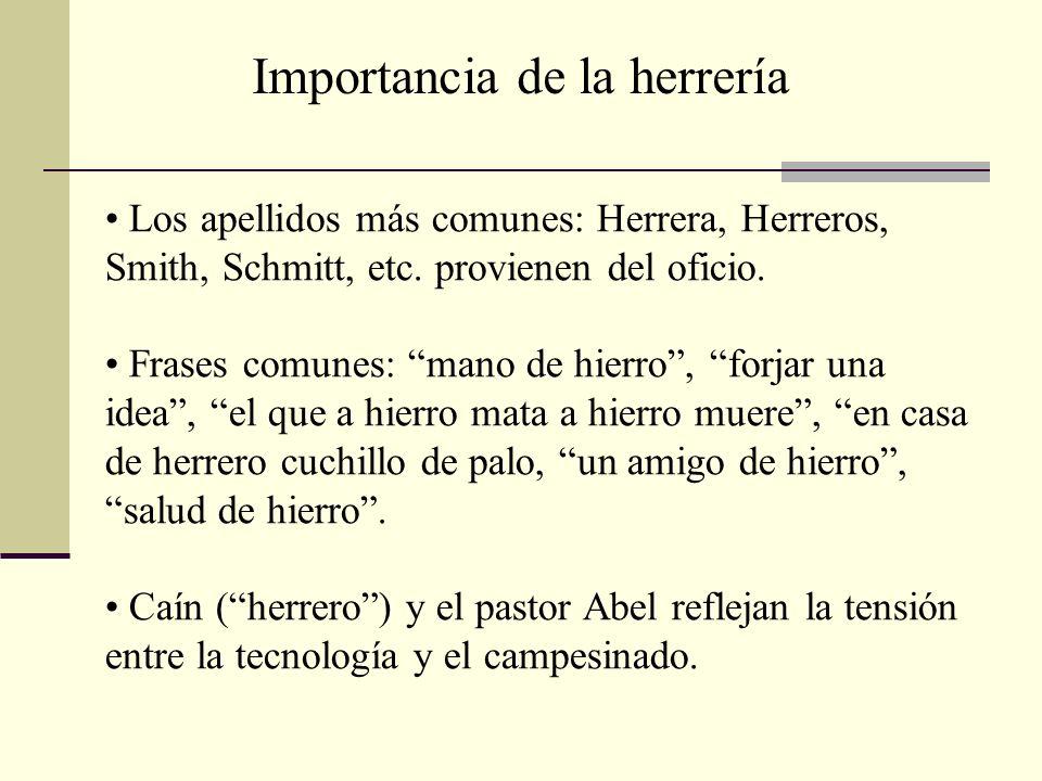 Los apellidos más comunes: Herrera, Herreros, Smith, Schmitt, etc. provienen del oficio. Frases comunes: mano de hierro, forjar una idea, el que a hie