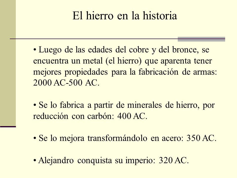 Luego de las edades del cobre y del bronce, se encuentra un metal (el hierro) que aparenta tener mejores propiedades para la fabricación de armas: 200