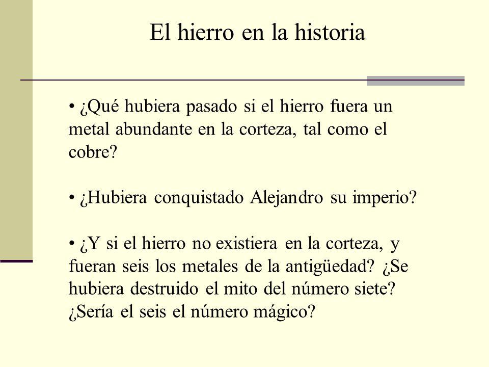 ¿Qué hubiera pasado si el hierro fuera un metal abundante en la corteza, tal como el cobre? ¿Hubiera conquistado Alejandro su imperio? ¿Y si el hierro
