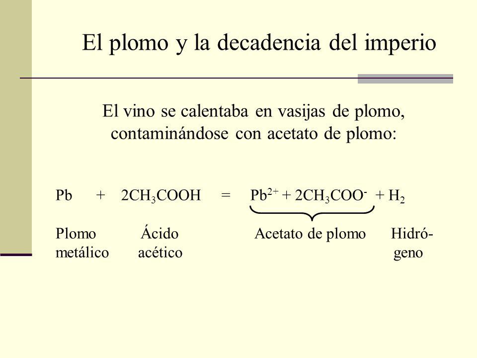 El vino se calentaba en vasijas de plomo, contaminándose con acetato de plomo: Pb + 2CH 3 COOH = Pb 2+ + 2CH 3 COO - + H 2 Plomo Ácido Acetato de plom