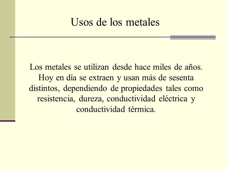 Los metales se utilizan desde hace miles de años. Hoy en día se extraen y usan más de sesenta distintos, dependiendo de propiedades tales como resiste