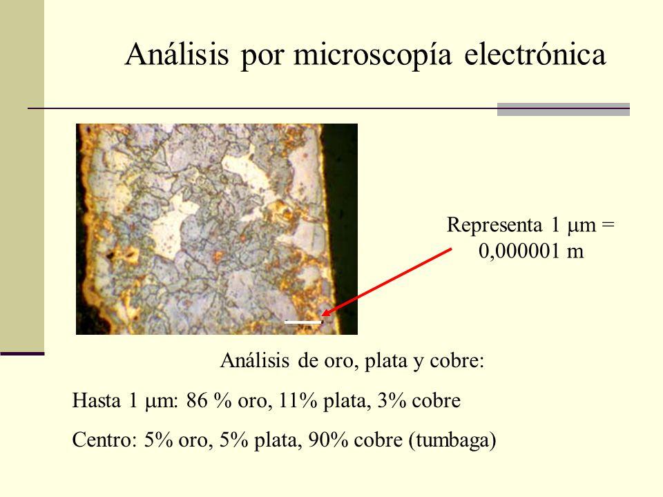 Análisis de oro, plata y cobre: Hasta 1 m: 86 % oro, 11% plata, 3% cobre Centro: 5% oro, 5% plata, 90% cobre (tumbaga) Análisis por microscopía electr