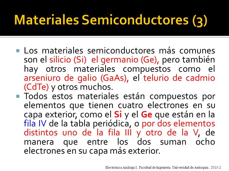 Los materiales semiconductores más comunes son el silicio (Si) el germanio (Ge), pero también hay otros materiales compuestos como el arseniuro de galio (GaAs), el telurio de cadmio (CdTe) y otros muchos.